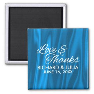 Imán Amor elegante y favor azul del boda de las gracias