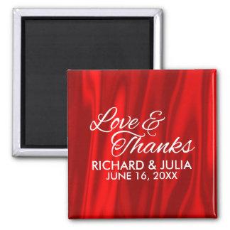 Imán Amor elegante y favor rojo del boda de las gracias
