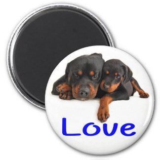 Imán Amor Rottweiler Brown y perro de perrito negro
