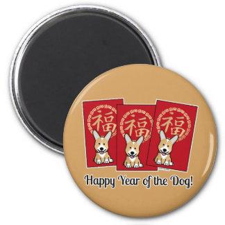 Imán Año afortunado del Corgi del sobre rojo chino del
