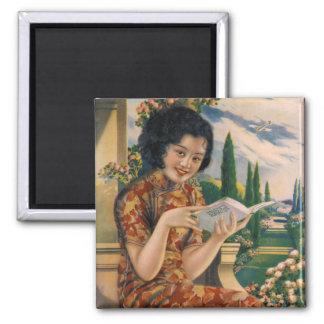 Imán Anuncio chino asiático de la mujer del vintage