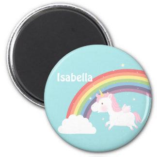 Imán Arco iris lindo del unicornio del vuelo para los