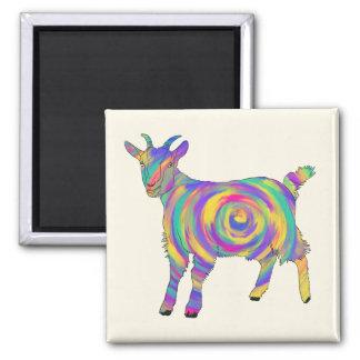 Imán Arte animal espiral colorido de la cabra