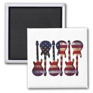 Imán Arte de la guitarra de la bandera americana