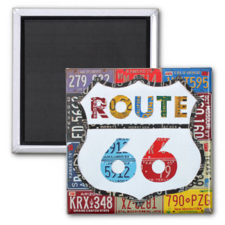 Imán Arte de la placa de la ruta 66 por la carretera de