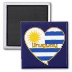 Imán Bandera de URUGUAY elegante corazón y Sol de Mayo