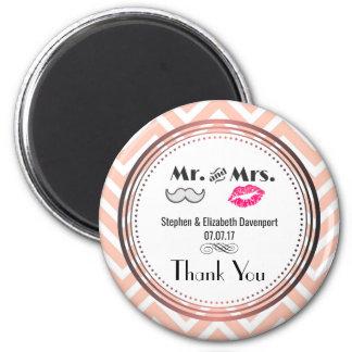 Imán Bigote y labios Sr. y señora Wedding Thank You