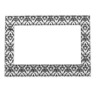 Imán blanco y negro del marco del damasco marcos magnéticos para fotos