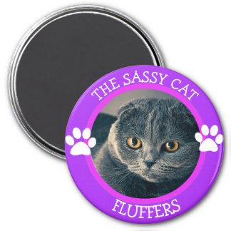 Imán Botón chistoso personalizado de la foto del gato