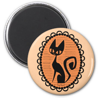 Imán Camafeo del gato negro de Halloween