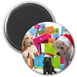 Imán Casquillo del gorra de Santa del perro del navidad
