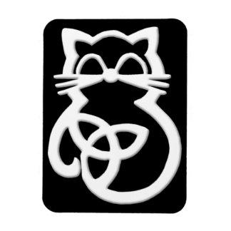 Imán céltico del gato del nudo blanco de la