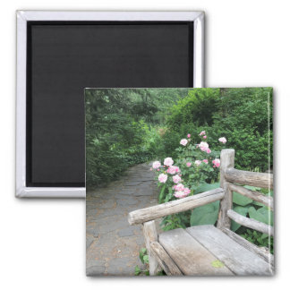 Imán Central Park NYC de los rosas del banco del jardín