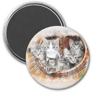 Imán Cesta de acuarela del extracto el | de los gatitos