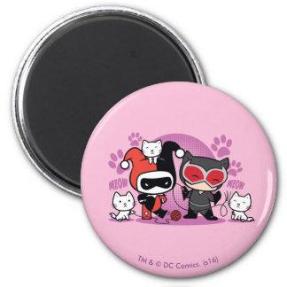 Imán Chibi Harley Quinn y Catwoman de Chibi con los