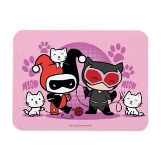 Iman Chibi Harley Quinn y Catwoman de Chibi con los