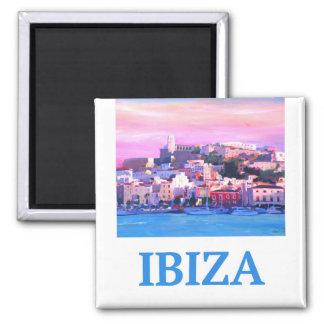 Imán Ciudad y puerto viejos de Ibiza del poster retro