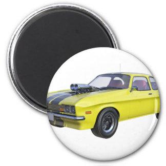 Imán coche del músculo de los años 70 en amarillo y
