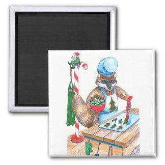 Imán Cocinero culinario del mapache lindo del navidad
