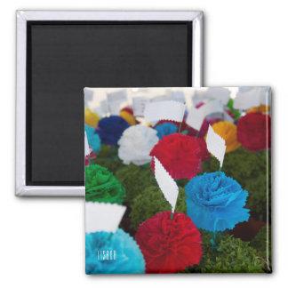 Imán colorido de la foto de las flores de papel de