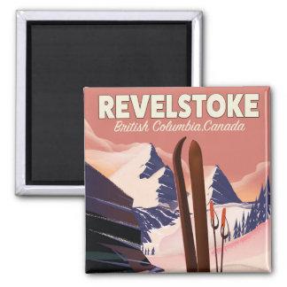 Imán Columbia Británica de Revelstoke, poster del esquí
