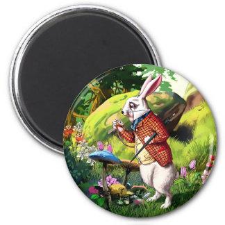 Imán Conejo blanco |Alice en los imanes de Pascua del