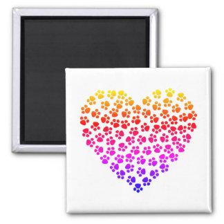 Imán Corazón del arco iris de Pawprint
