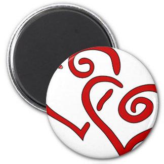 Imán Corazón doble rojo