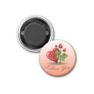 Imán Corazón espiral y rosa rojo