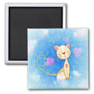 Imán Corazones del amor del gatito azules
