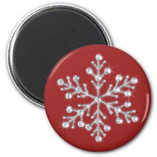 Imán cristalino del copo de nieve (rojo)