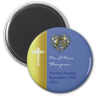 Imán Cruz del boda del azul y del oro