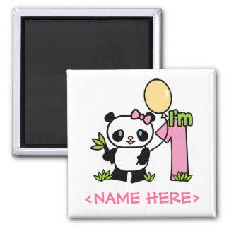 Imán Cumpleaños del chica de la panda primer