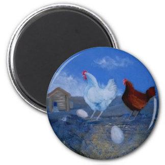 Imán de encargo del arte de los pollos lindos de l