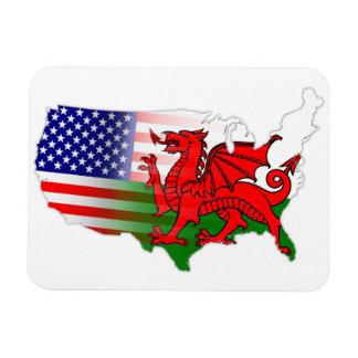 Imán de Flexi del mapa de las banderas americanas