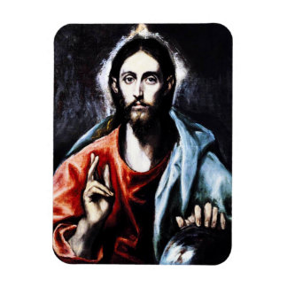 Imán de la bendición de El Greco Cristo