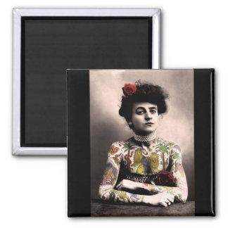 Imán de la fotografía del vintage de la mujer del