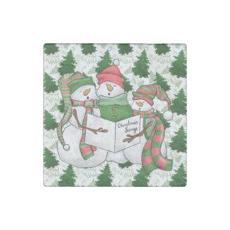 Imán De Piedra 3 Carolers del muñeco de nieve