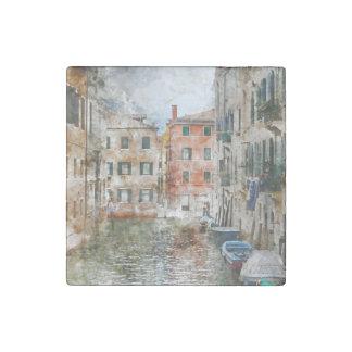 Imán De Piedra Barcos en los canales de Venecia Italia