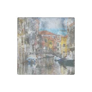 Imán De Piedra Canales de la acuarela de Venecia Italia