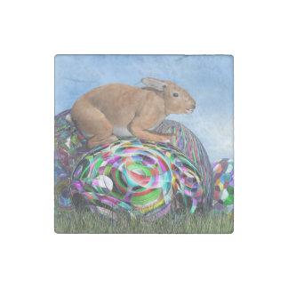 Imán De Piedra Conejo en su huevo colorido para Pascua - 3D