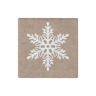 Imán De Piedra Copo de nieve en navidad del estilo rural de la