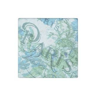 Imán De Piedra Modelo floral azul de los matasellos de París del