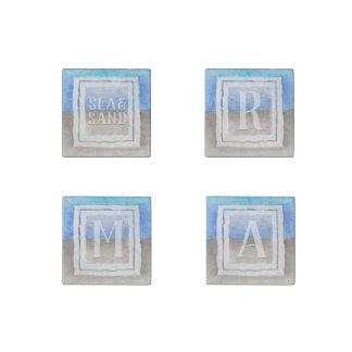 Imán De Piedra Monograma azul verde azulado de la acuarela del