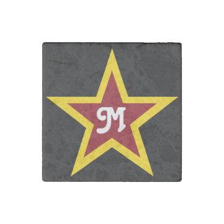 Imán De Piedra Monograma de encargo simple de la estrella roja y