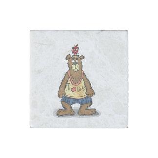 Imán De Piedra Oso de Brown del dibujo animado que se coloca en