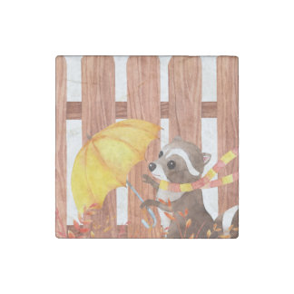 Imán De Piedra racoon con el paraguas que camina por la cerca