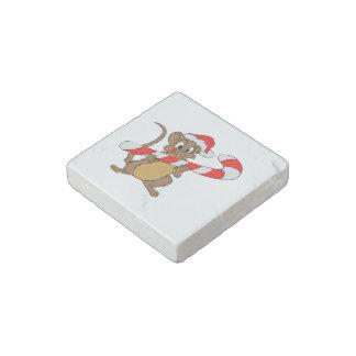 Imán De Piedra Ratón con un bastón de caramelo del navidad