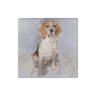 Imán De Piedra Retrato lindo de la acuarela del beagle