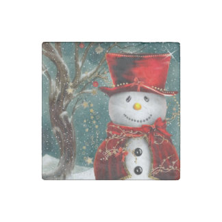 Imán De Piedra Snowmans lindos - ilustracion del muñeco de nieve